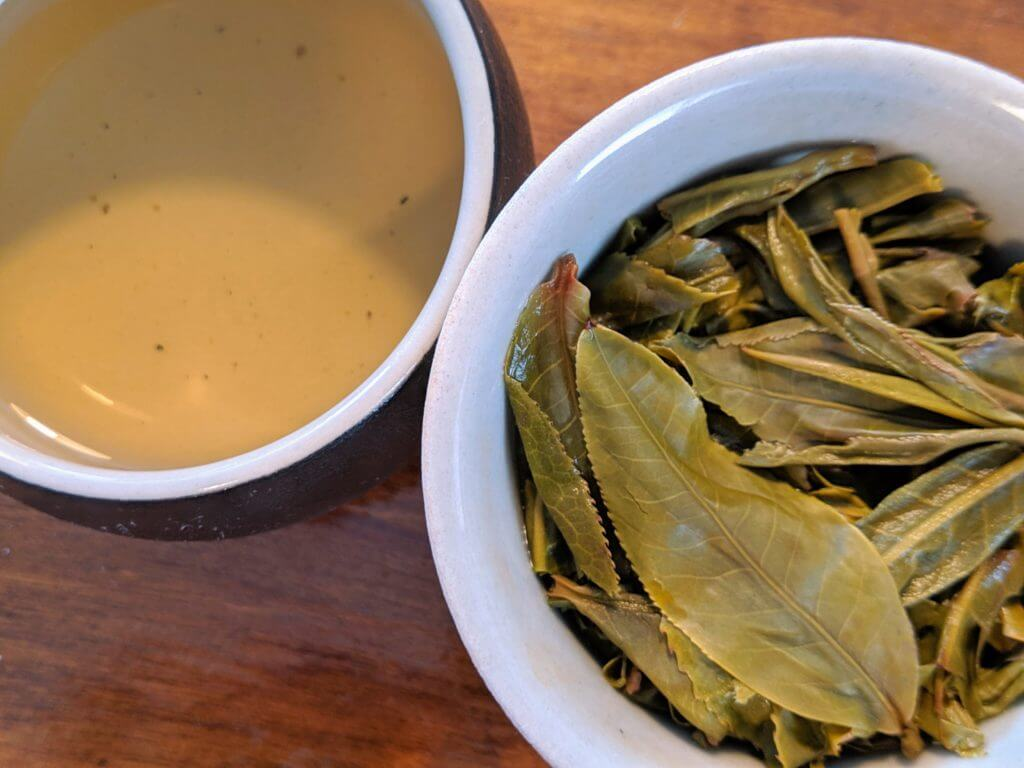 Bitterleaf Teas 2018 Core puerh wet leaves in gaiwan and liquor